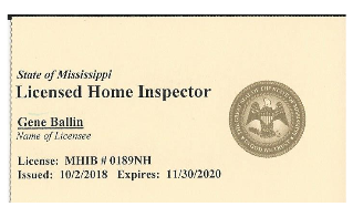 Mississippi Home Inspector License card